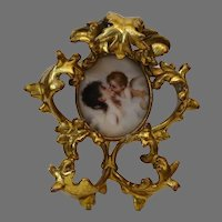Antique Hand Painted Porcelain Miniature in Gold Gilt AMW (Art Metal Works) Frame - Miniature Portrait of Lady and Angel