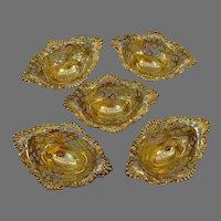Watson Wilcox & Wagoner Nut Dish Cups - Pierced Gold Sterling Silver Nut Bowls