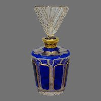 Art Deco Bohemian Perfume Bottle - Blue Czech Cologne Bottle