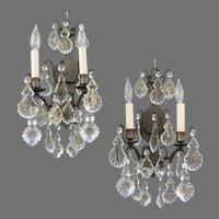Antique French Wall Sconces with Crystal Prisms - Electric 2-Light Sconces Pair