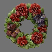 Antique French Majolica Wreath with Roses and Iris - Porcelain Cemetery Flowers