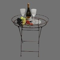 Vintage French Iron Folding Accent Table - French Wire Plant Stand