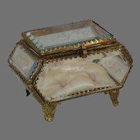 Antique French Ormolu Jewelry Casket - Beveled Glass Jewelry Casket