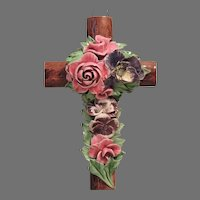 Antique French Cross with Majolica Roses and Pansies - Cemetery Grave Marker - Religious Decoration