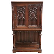 Antique French Gothic Cabinet, Walnut, 19th Century