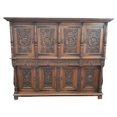 Beautiful French Renaissance Cabinet, Nice Quality, Oak, 1920's