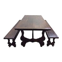 French Country Trestle Farm Table with Benches, 1900's, Oak