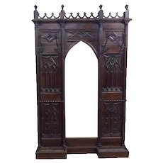 Antique French Gothic Hall Tree Hall Rack, Walnut, 19th Century