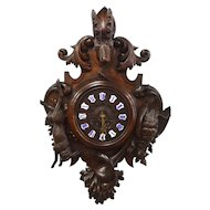 Antique French Black Forest Clock Chamois Head, 19th Century