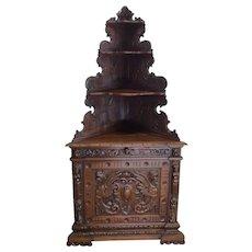 Unique French Renaissance Corner Cabinet, Gargoyle Carvings, Walnut, 19th Century