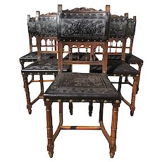 Handsome set of Six Henri II Dining Chairs, Walnut & Pressed Leather, 19th Century