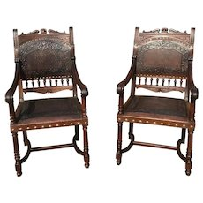 Great Pair of Henri II Arm Chairs, Pressed Leather, Turn of Century, Walnut
