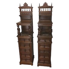 Rare & Exceptional Pair of Breton Night stands, Tall, 19th Century, Oak