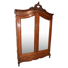 Antique French Armoire, Double Doors with Mirrors, 1920's, Oak