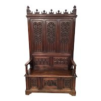 Gorgeous Antique French Gothic Bench, Tall Back, Walnut, 19th Century