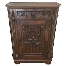 Antique French Gothic Cabinet, Utility Cabinet, Walnut, 19th Century