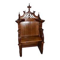 Antique French Gothic Throne, Bishop or Altar Chair, Walnut, 19th Century