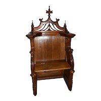 Antique French Gothic Throne, Bishop or Altar Chair, Walnut, 19th Century #10094
