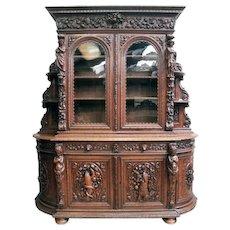Grandiose 19th Century Bombe Hunt Cabinet, Oak, Carvings Galore