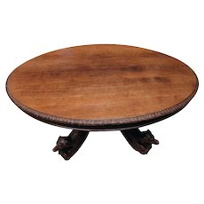 Terrific Antique French Hunt Dining Table with Carved Dogs, Oak, 19th Century