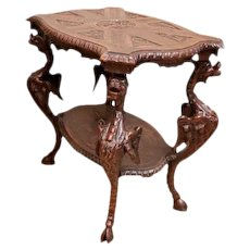 Wonderful French Renaissance Occasional Table, Carved Dragons, Turn of Century