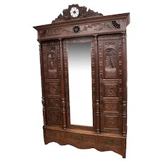 Striking Antique French Breton Armoire, Center Mirror, 19th Century, Oak