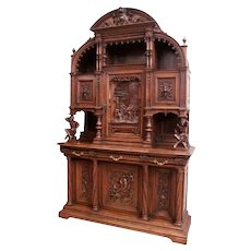 Monumental French Gothic Cabinet, Jesters, Walnut, 19th Century