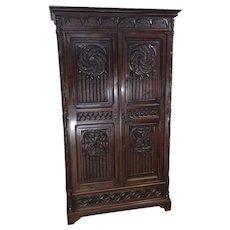 Terrific Antique French Gothic Cabinet, Double Door, 19th Century, Oak