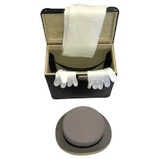 """Antique Top Hat, Gloves, Scarf & Box  marked """"Empire"""" Super Quality, #59  SKU #10149"""