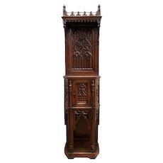 Antique French Gothic Cabinet, Narrow Model, Walnut, 19th Century