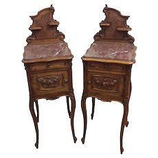 Showy Pair of French Antique Night Stands, Marble Tops, 19th Century, Oak