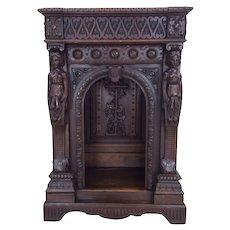 Unusual & Fantastic French Renaissance Cabinet or Pedestal, 19th Century, Oak