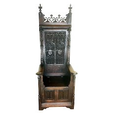 Intricately Carved French Gothic Throne Chair. 19th Century, Oak, Religious