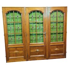 French Solid Oak Doors, Set of Five, Leaded Glass, 1920's