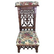 Wonderfully Carved French Gothic Prayer Chair, 19th Century, Oak, Kneeler