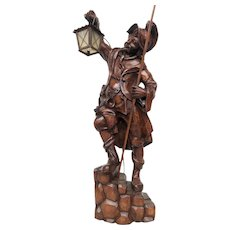 Antique Wooden Statue / Lamp, Guard on his Post, 1920's