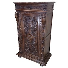 Handsome French Hunt Cabinet, Narrow, 19th Century, Oak