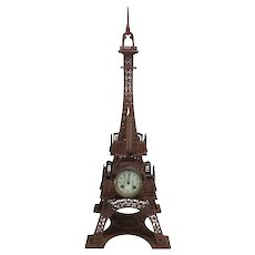 Tall French Eiffel Tower Clock, Turn of the Century, Clock & Thermometer