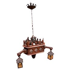 Antique French Gothic Chandelier and Wall Sconce with Gargoyles, 3 Globes, Oak