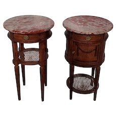 Antique Pair of Marble Top Night Stands, Oak, 1920's