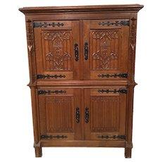 Handsome Antique Gothic Storage Cabinet, Oak, 1930's
