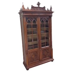 Marvelous French Gothic Bookcase, Medieval, 19th Century, Walnut