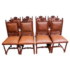 Wonderful Set of 8 Renaissance Dining Chairs 16 Different Carved Heads