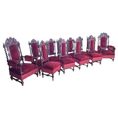 Stunning set of 12 Hunt Chairs dating from 19th Century, Oak, Red Fabric, Barley Twist