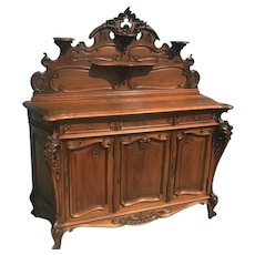 Lovey French Antique Walnut Sideboard, Solid Walnut, 19th Century, Large