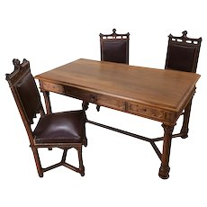 Large French Gothic Desk with 3 Leather Chairs, Walnut, 1920's