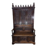Antique French Gothic Bench, 19th Century, Oak, Tall Model