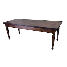Large Primitive French Country Farm Table, Oak, 19th Century