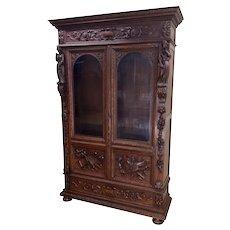 Antique French Renaissance Bookcase, 19th Century, Oak