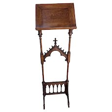 Antique French Gothic Bible Stand, Oak, 19th Century, Religious
